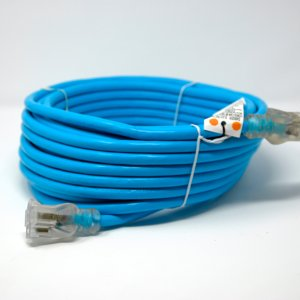 10 Gauge SJTW Heavy Duty Blue Extension Cord - Single Lighted End