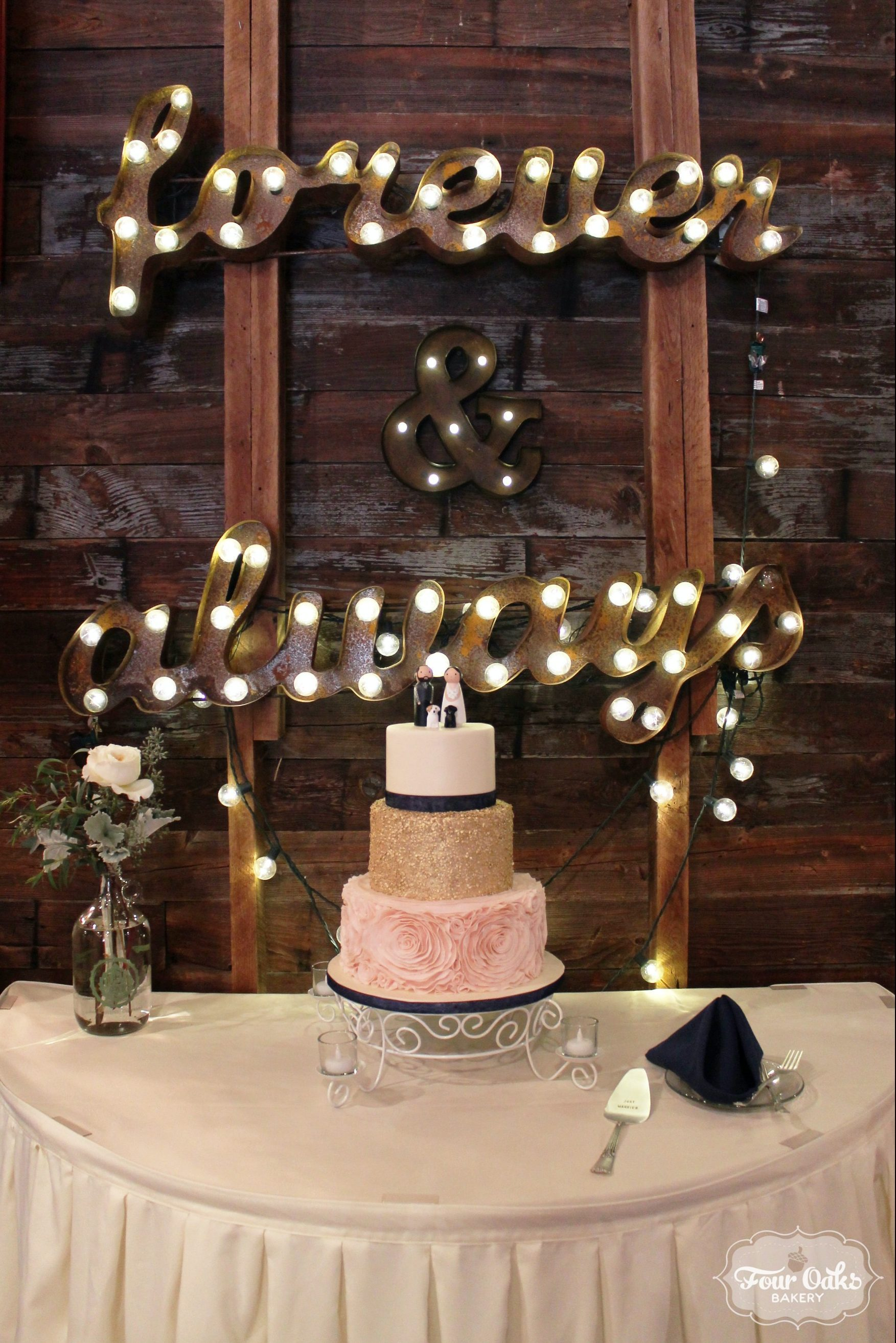 Ashley and Greg's Blush, Ivory, and Gold Wedding Cake at The Barn at West Overton in Scottdale, PA