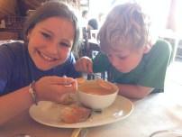 my little foodies, digging the pumpkin soup at Fleur's