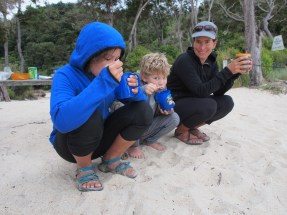 hot chocolate/coffee break after an early morning/low tide estuary crossing