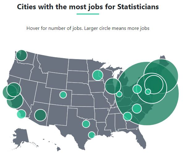 Cities with the most jobs for statisticians