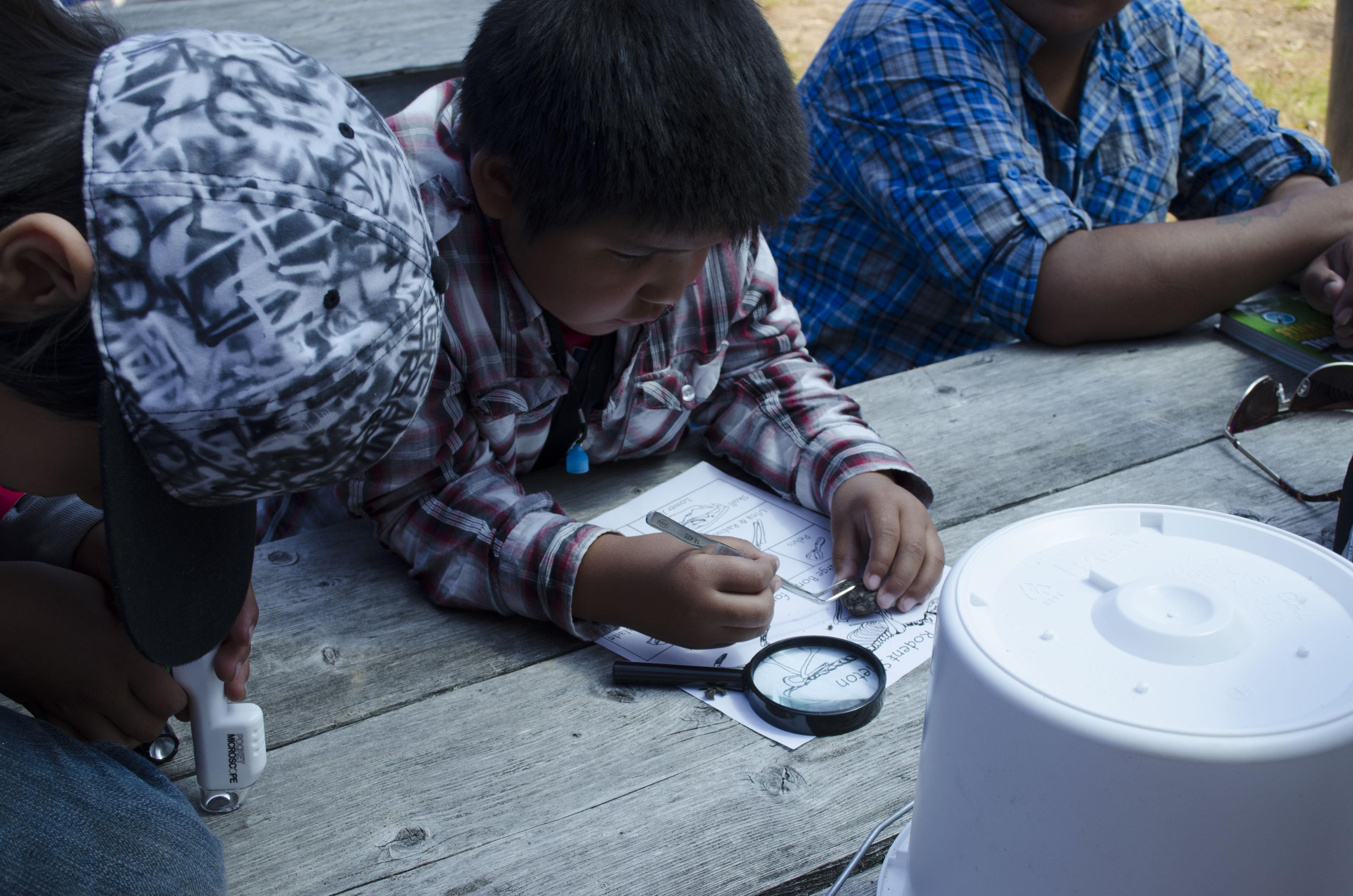 YOLO activity station at Ginoogaming First Nation cultural week (May 16-18, 2017)