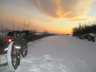 Fresh snow, sunset, and a Pugsley commute 006