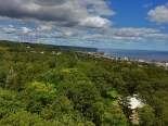 Northeast view up the shoreline of Lake Superior from Enger Tower.