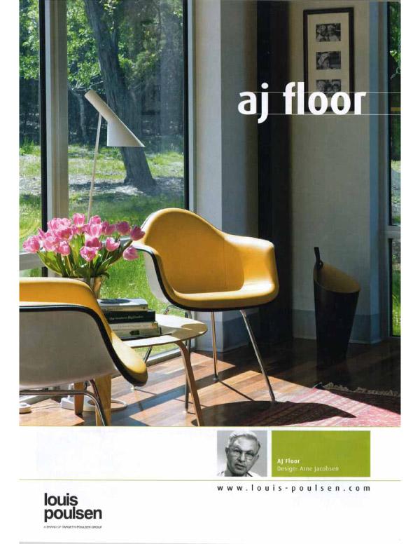 Louis Poulsen lamp ad featuring a Foursquare Builders floorplan