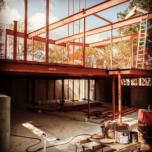 A future AIA Austin Homes Tour candidate home from Foursquare Builders designed by Cornerstone Architects. This four story home will feature a significant elevator structure wrapped with suspended steel staircase.