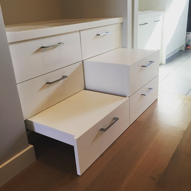 Our carpenters at ATX Trim are true craftsmen. Created this cool pull out step for the little ones to reach the mud room bench.