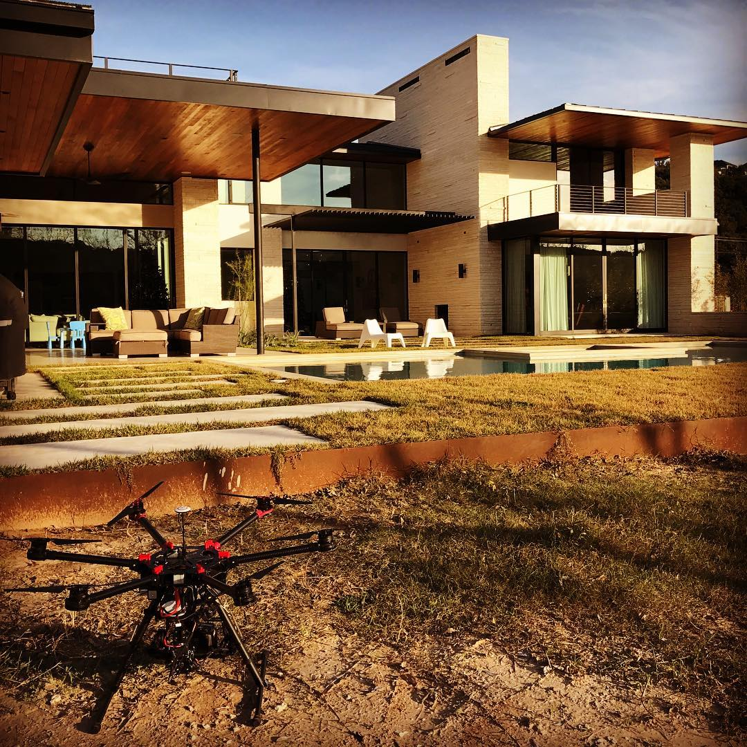 @redpantsstudio drone getting ready to fly our @foursquarebuilders home on Lake Austin this afternoon.