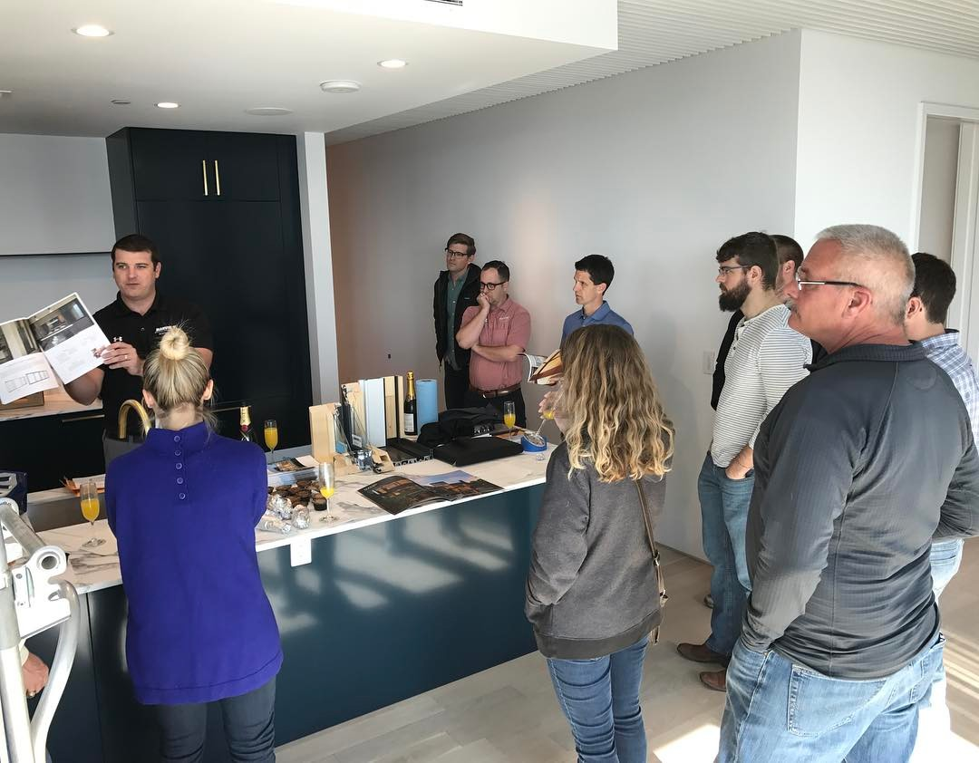 Weekly @foursquarebuilders company meeting at our Seaholm project. Architectural Impressions Austin and Marvin Windows presentation on their new contemporary line of windows.