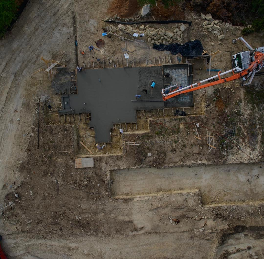 Multi stage foundation pour happening on our Serene Hills home. Built by @foursquarebuilders Designed by Drone Photo by @redpantsstudio