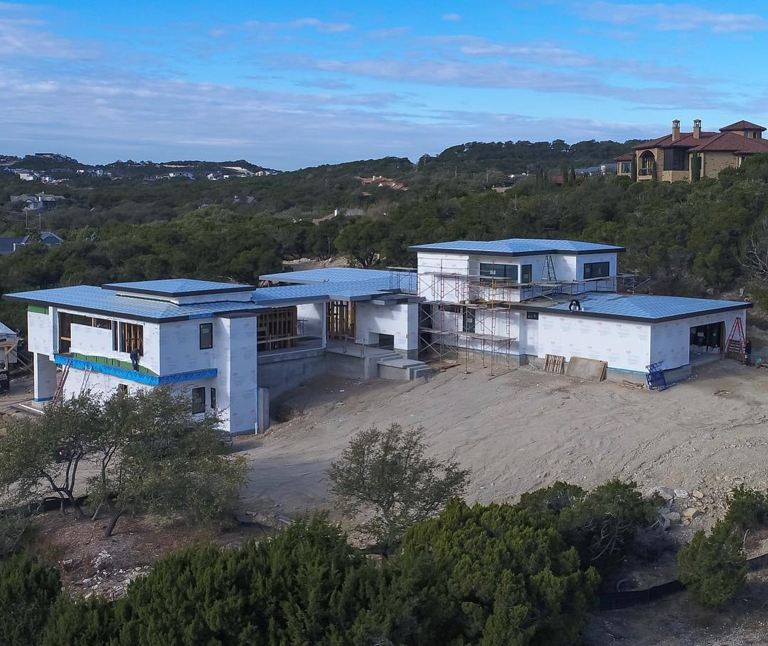 Dry-In just about complete on our Serene Hills Home. Built by @foursquarebuilders Designed by @lankerani_architecture Drone by @redpantsstudio