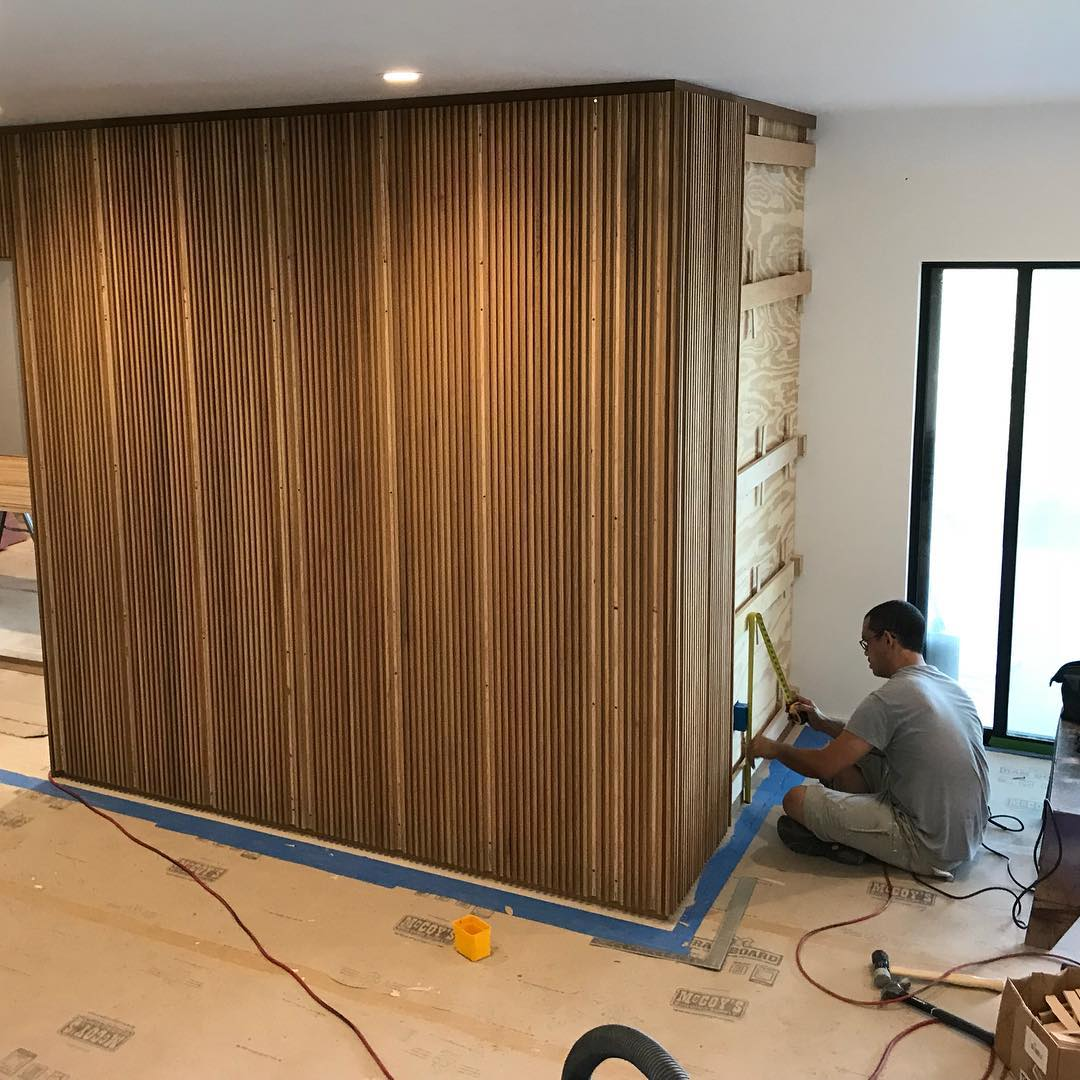 White Oak wood paneling Built by @flitchatx and @foursquarebuilders Designed by @dc_architecture