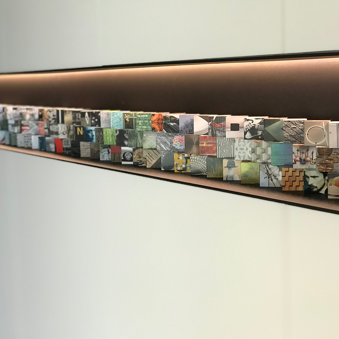 When art creates art. Our client's work displayed in our work. Designed by @dc_architecture Built by @foursquarebuilders Cabinets by @flitchatx Art by Owner