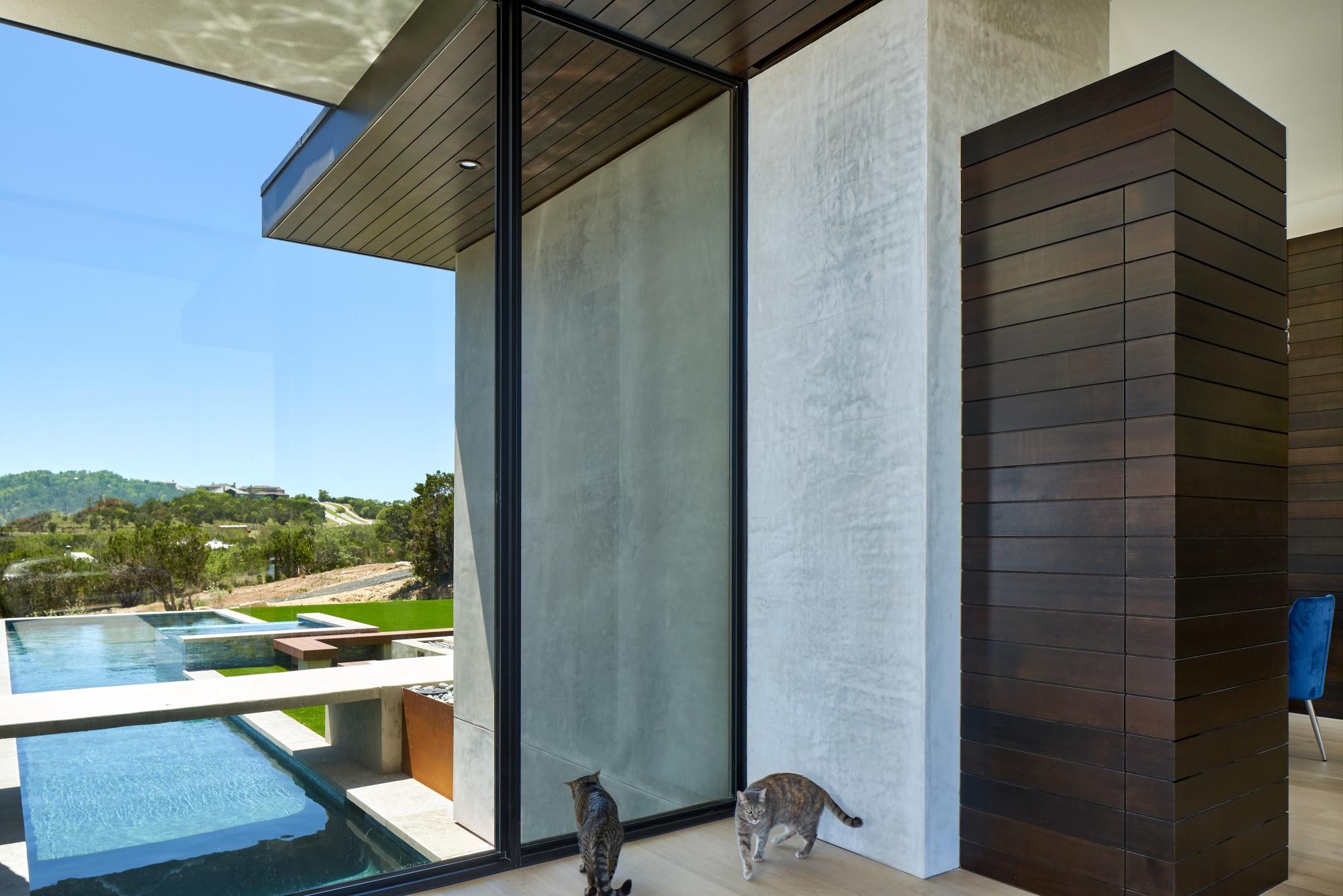 Lap pool, bridge and glass create interesting shadows.
