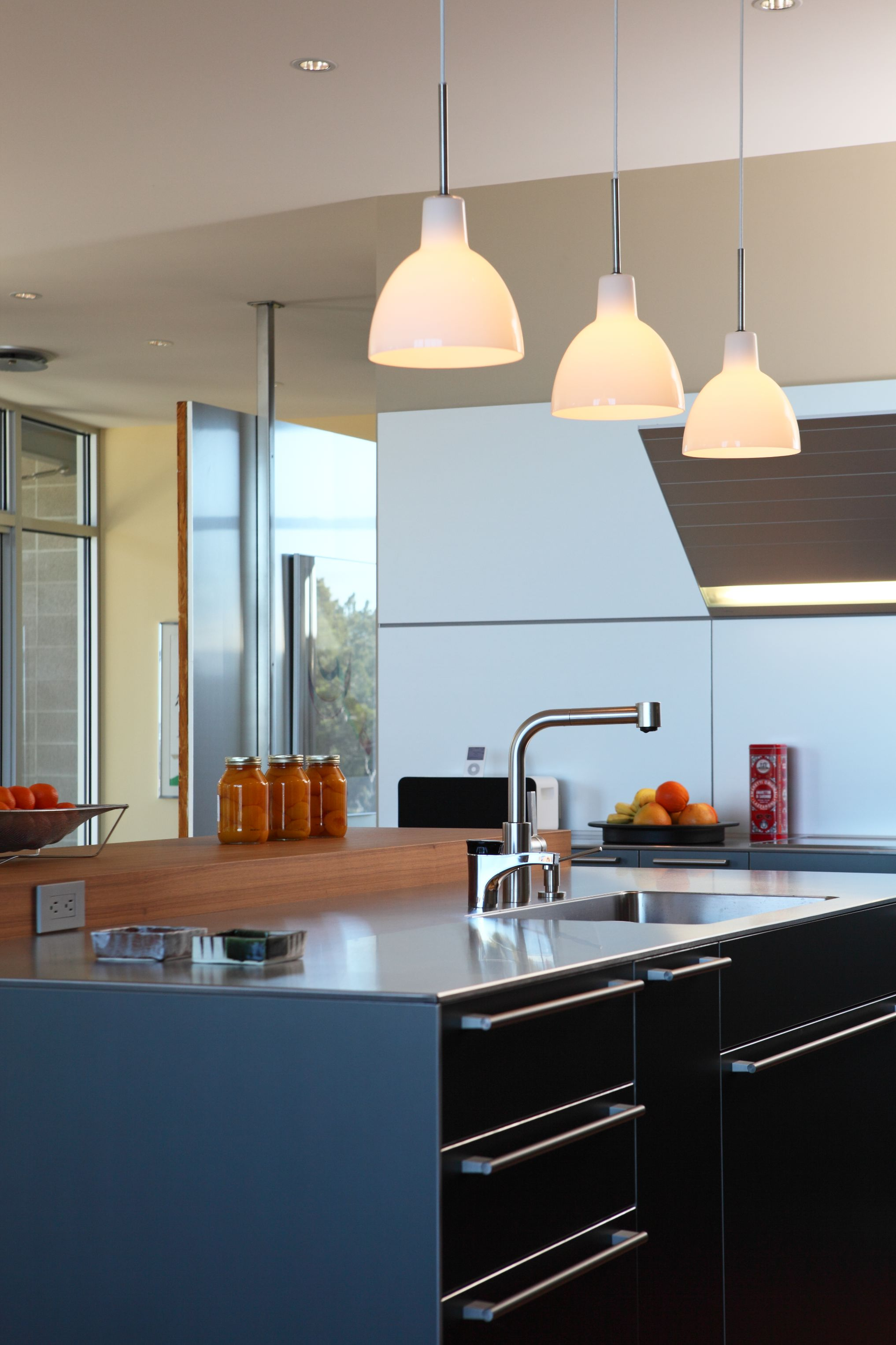 Louis Poulsen lighting provides beauty and utility to this space.