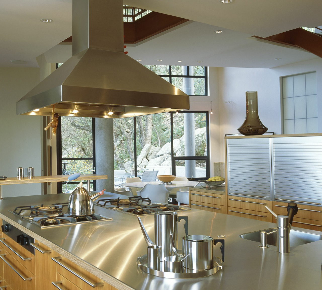 Bulthaup kitchen with stainless steel countertops.