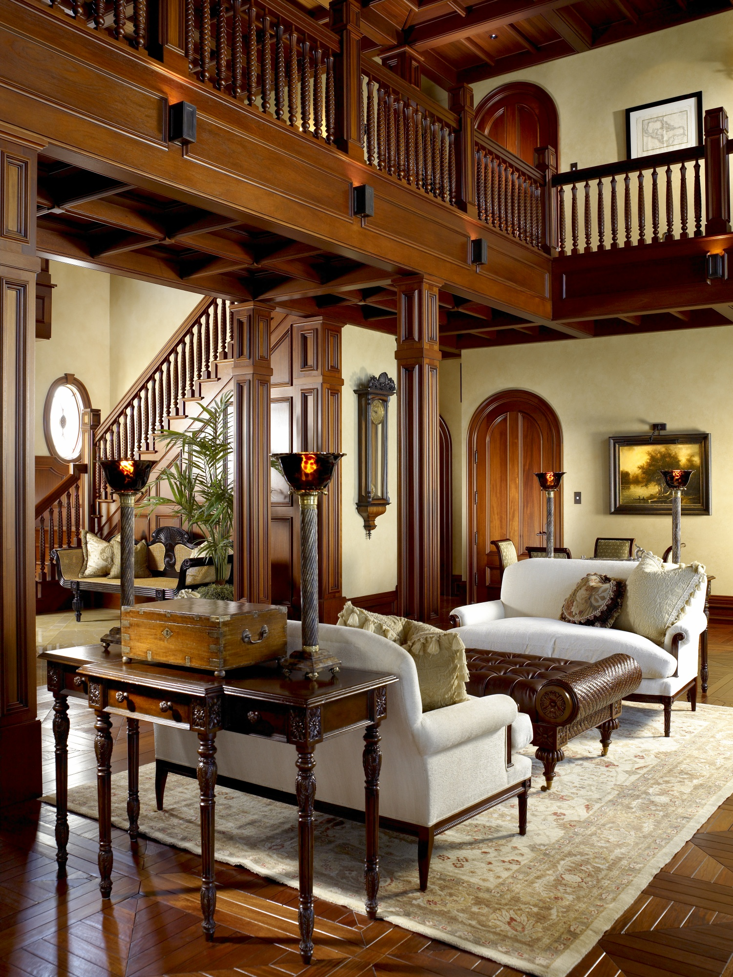 Coffered mahogany ceilings provide structure and beauty to the living room.