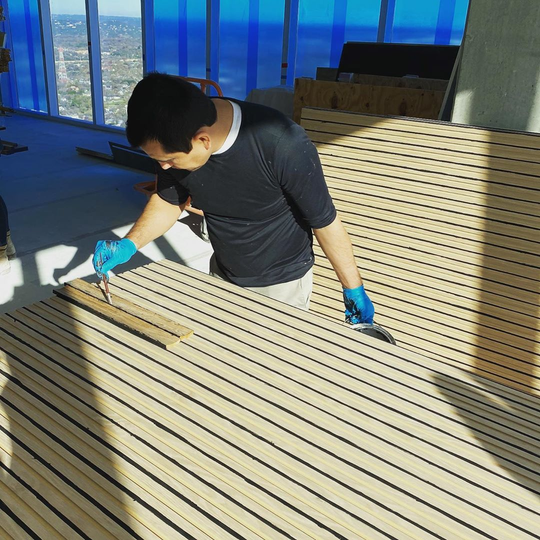 It's always in the details. Staining the reveals before the reveal is created. Love our craftsman at work.