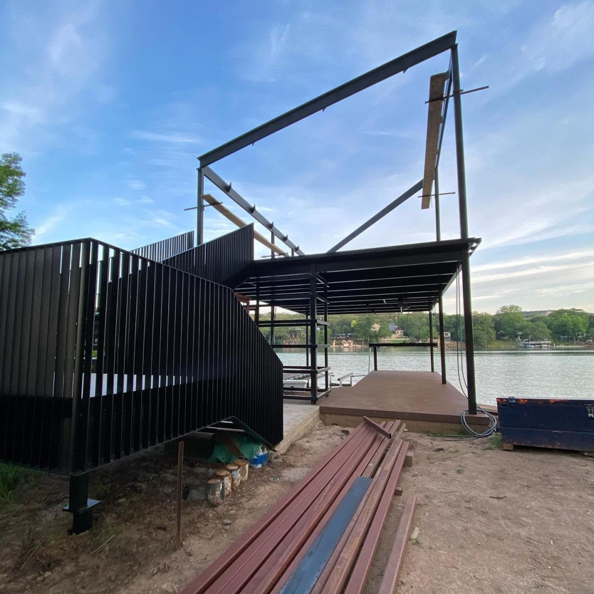 Lake Austin boat dock being built by @foursquarebuilders and designed by @breckstudio