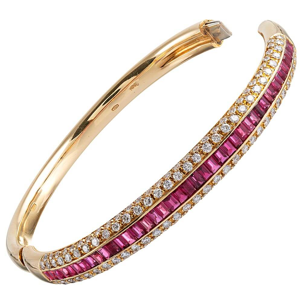 Ruby & Diamond Bangle Bracelet - Fourtané