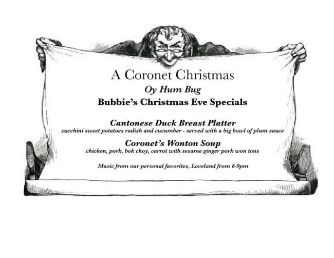 The Coronet Christmas Menu. Photo Courtesy of The Coronet.