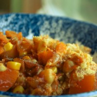 Sweet Potato and Garbanzo Bean Stew with Cornbread Topping