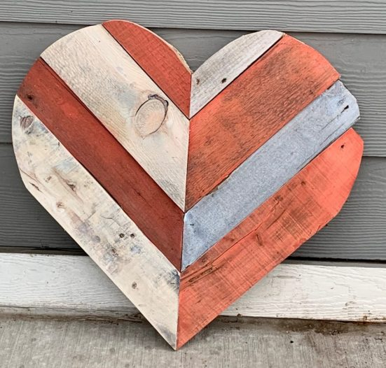 Coral and White painted chevron pallet heart