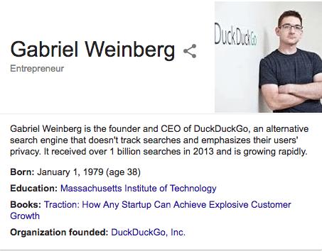 Gabriel Weinberg rich snippet