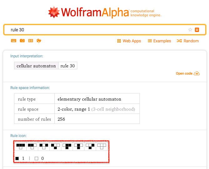 Rule 30 - Wolfram Alpha