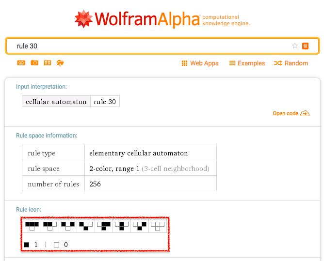 Rule 30 - Wolfram Alpha