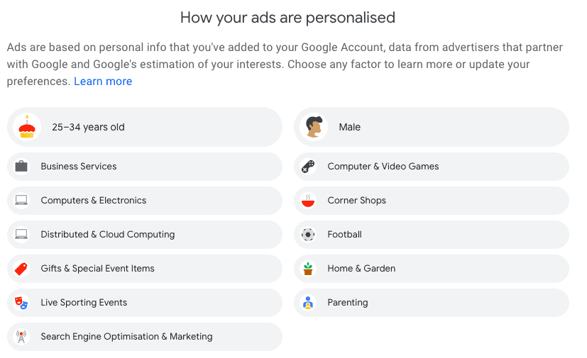 How your ads are personalised