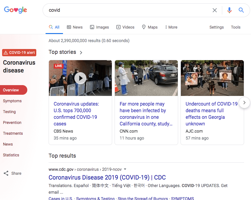 google-covid-hub