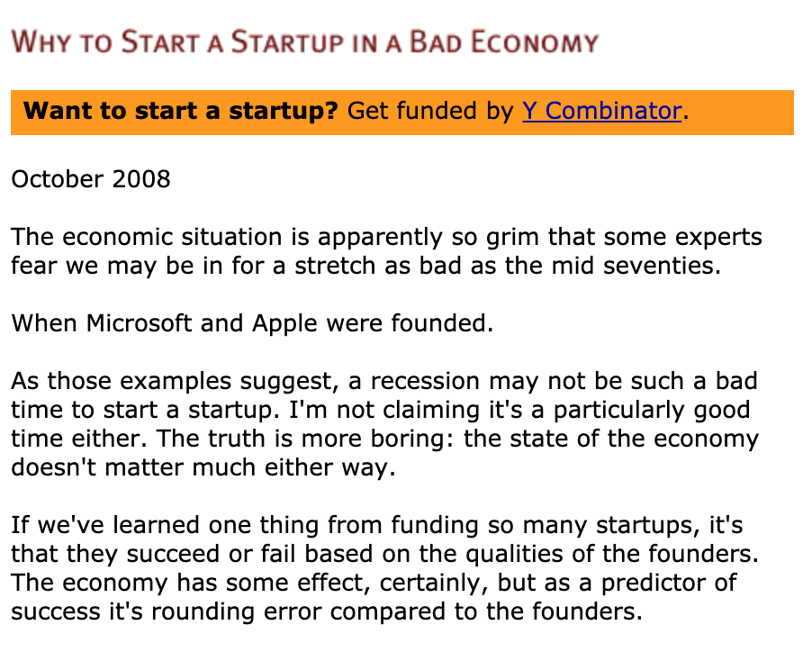Why To Start A Startup In A Bad Economy,