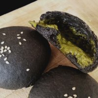 Charcoal Buns with Green Tea Matcha Custard Filling