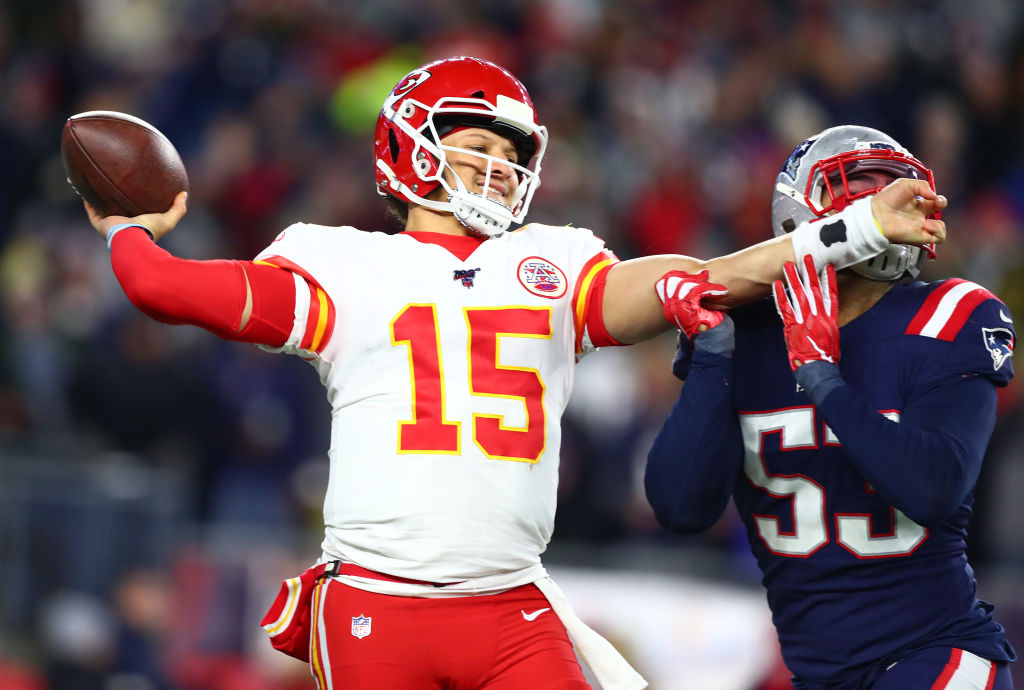 Picture of Patrick Mahomes against the Patriots