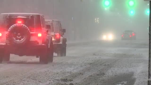 Cars driving on snow in Cleveland