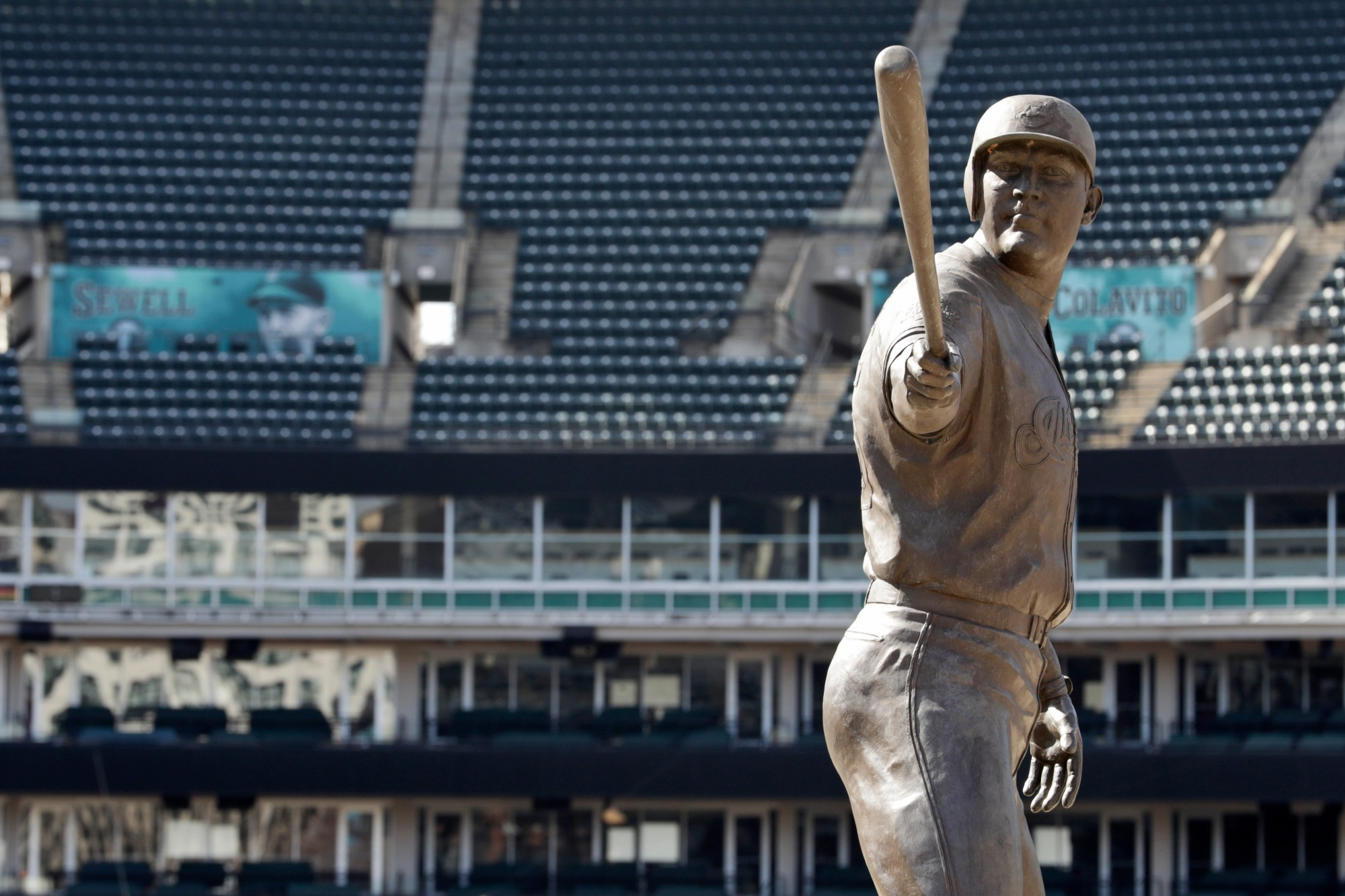 A statue of former Cleveland Indians Jim Thome stands in an empty Progressive Field, Thursday, March 26, 2020, in Cleveland. The Cleveland Indians were scheduled to play the Detroit Tigers in an Opening Day baseball game Thursday but the season has been postponed due to the coronavirus.