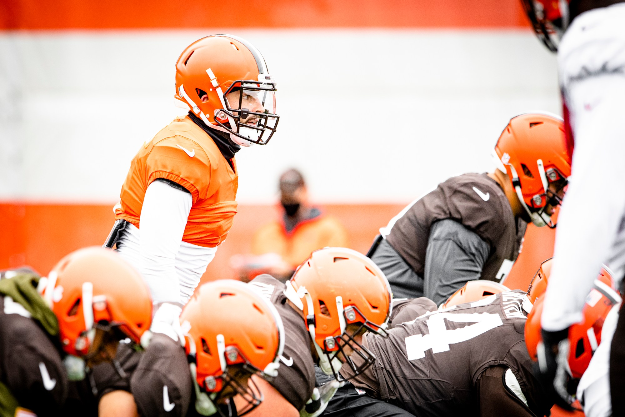 Quarterback Baker Mayfield (6) during practice on September 30, 2020