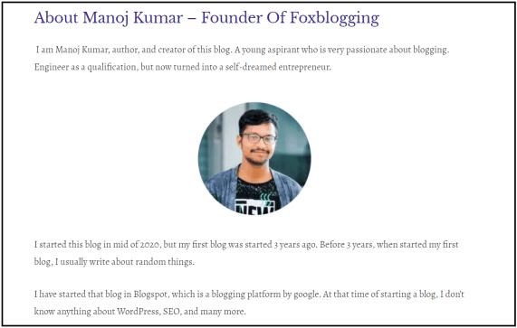 Foxblogging about page - Manoj kumar
