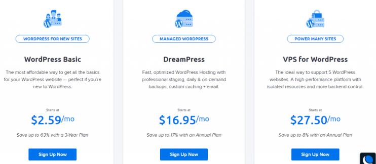 WordPress dreamhost plans pricing
