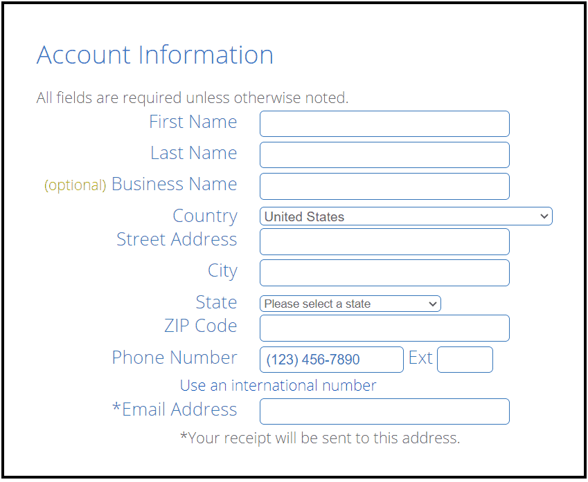 Enter account information to buy a domain and hosting