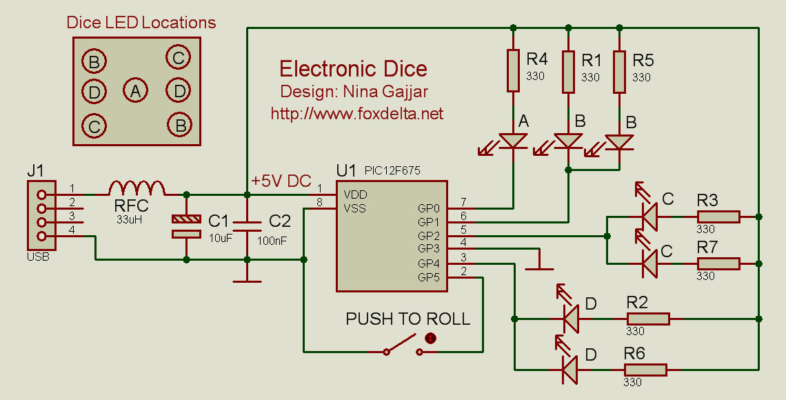 Fox Delta School Projects:: PIC12F675 ELECTRONIC DICE By
