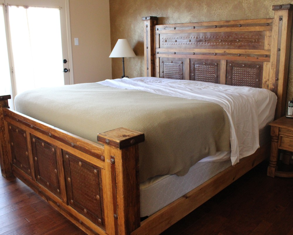 Buy Rustic Metal Paneled Bed Online