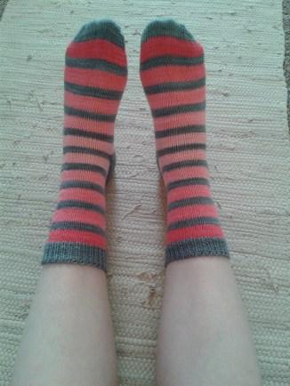 Stripy socks made with Fivemoons merino