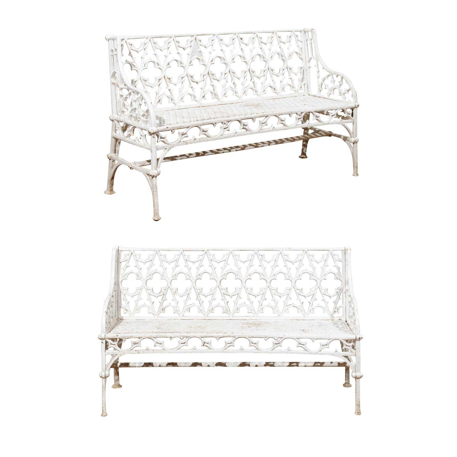 Pair Of 19th C French Gothic Cast Iron Benches