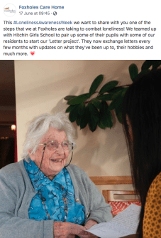 foxholes care home social media elderly lady care home