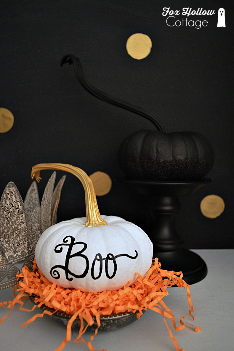 Painted Pumpkin Craft BOO DIY Halloween Decor foxhollowcottage.com