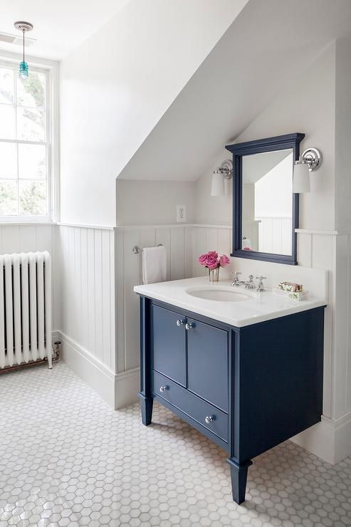Navy Bathroom Decorating Ideas Navy Bathroom Decorating Ideas  Charming vintage cottage farmhouse home  with blue vanity cabinet