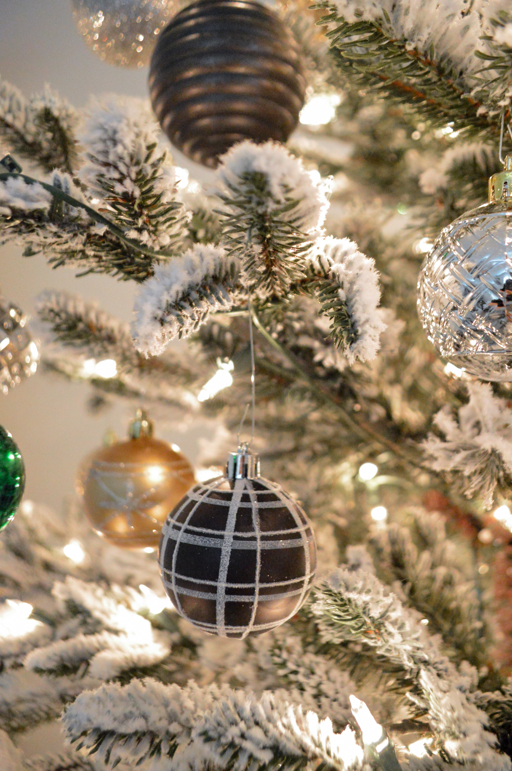 Lightly Flocked Natural Aspen Pine Christmas Tree in white gold green Fox Hollow Cottage www.foxhollowcottage.com 12