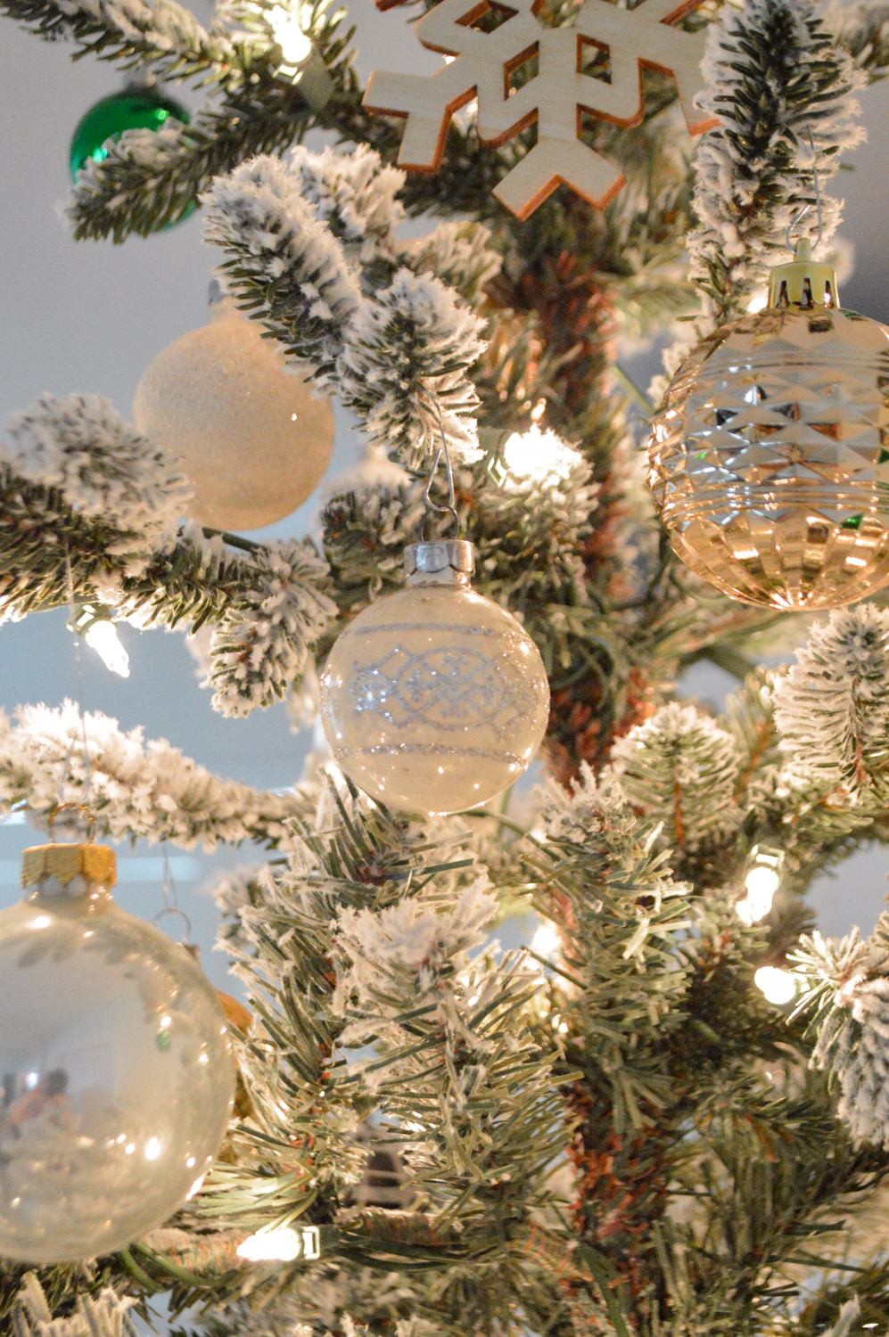 Lightly Flocked Natural Aspen Pine Christmas Tree in white gold green Fox Hollow Cottage www.foxhollowcottage.com 17